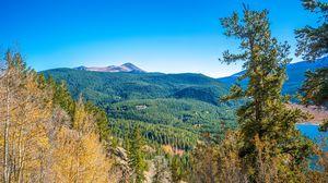 Превью обои горы, холмы, рельеф, деревья, пейзаж, вид сверху