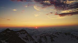 Превью обои горы, кордильеры, небо, закат, солнце, облака