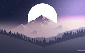 Превью обои горы, луна, лес, ночь, звездное небо, вектор, плоский