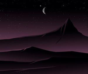 Превью обои горы, луна, ночь, вектор, арт