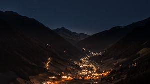 Превью обои горы, ночь, строение, небо