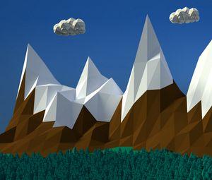 Превью обои горы, облака, объем, вектор, арт, 3d