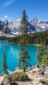 Превью обои горы, озеро, деревья, пейзаж, яркий