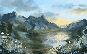 Превью обои горы, озеро, пейзаж, арт