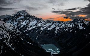 Превью обои горы, озеро, вершины, вид сверху