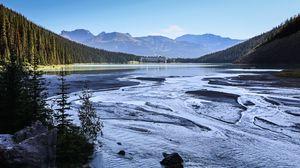 Превью обои горы, озеро, волны, деревья, пейзаж, природа