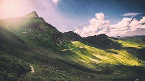 Превью обои горы, панорама, облака