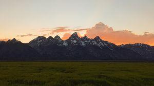 Превью обои горы, равнина, пейзаж, вершины, сумерки