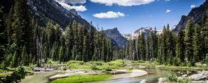 Превью обои горы, река, деревья, природа, пейзаж