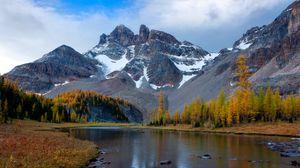 Превью обои горы, река, снег, зима