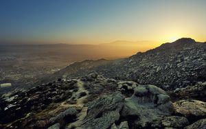 Превью обои горы, рельеф, сумерки, природа