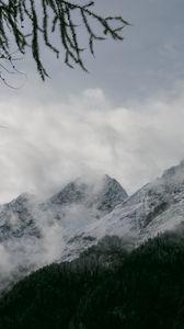 Превью обои горы, снег, туман, природа