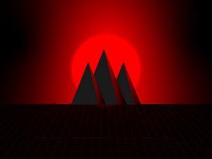 Превью обои горы, солнце, вектор, арт, красный