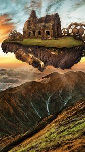 Превью обои горы, строение, двигатель, шестерни, стимпанк, воображение, фотошоп