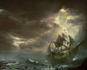 Превью обои горы, тучи, море, корабль, парусник, разрушенный
