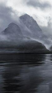 Превью обои горы, вода, туман, мгла, природа, пейзаж