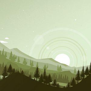 Превью обои горы, закат, пейзаж, вектор