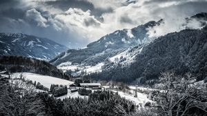 Превью обои горы, зима, снег