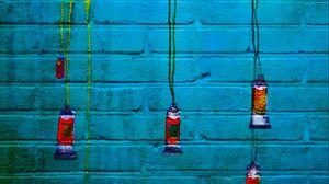Превью обои граффити, краска, кирпичный, тюбики, стена