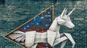Превью обои граффити, оригами, стрит арт, кирпичная стена