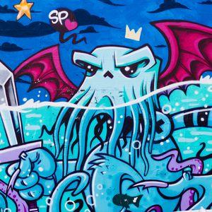 Превью обои граффити, осьминог, стрит арт, уличное искусство