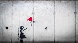 Превью обои граффити, ребенок, воздушный шарик, любовь, стрит арт