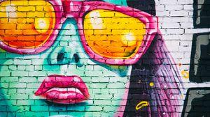 Превью обои граффити, стена, девушка, арт