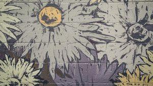 Превью обои граффити, стена, краска, цветы, рисунок