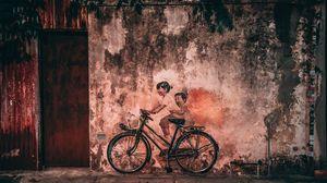 Превью обои граффити, велосипед, дети, стена, старый