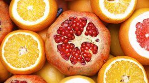 Превью обои гранат, апельсин, грейпфрут, фрукты, цитрус
