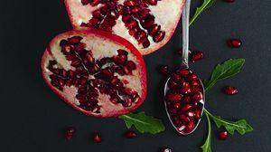 Превью обои гранат, фрукт, красный, ложка, листья