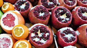 Превью обои гранат, грейпфрут, апельсины, фрукты