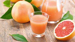 Превью обои грейпфруты, сок, фрукты, цитрус