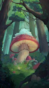 Превью обои грибы, лес, сказка, арт