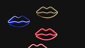 Превью обои губы, неон, разноцветный, свечение, темный