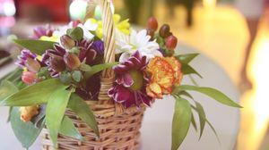 Превью обои гвоздики, цветы, корзинка, букет, композиция, красота