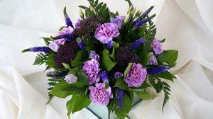 Превью обои гвоздики, розы, эустома, букет, композиция, цветы