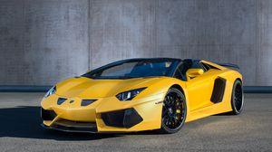 Превью обои hamann, lamborghini, aventador, roadster, lb834, желтый, вид сбоку