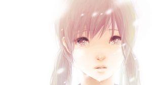 Превью обои hatsune miku, девушка, волосы, два хвостика, карие глаза, слёзы