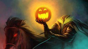 Превью обои хэллоуин, праздник, всадник без головы, тыква, конь