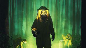 Превью обои химическая защита, костюм, зомби, радиация, фантастика, зеленый