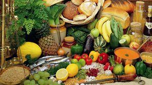 Превью обои хлеб, овощи, фрукты, ассорти, рыба, крупы