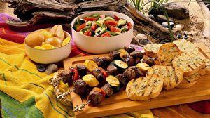 Превью обои хлеб, овощи, мясо, еда
