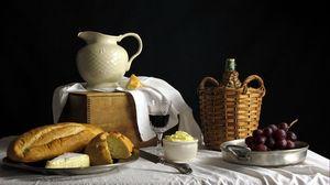 Превью обои хлеб, виноград, стол, натюрморт