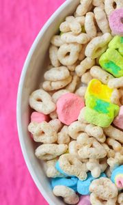 Превью обои хлопья, завтрак, миска, разноцветный