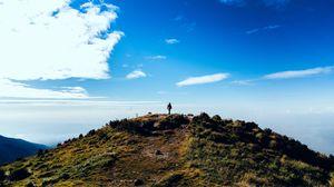 Превью обои холм, гора, силуэт, одиночество, пейзаж