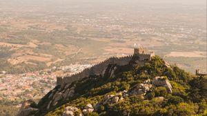 Превью обои холм, крепость, старый, высота, город, обзор