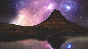 Превью обои холм, река, отражение, звездное небо, исландия