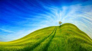 Превью обои холм, трава, дерево, небо, дорога