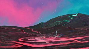 Превью обои холм, вода, ночь, арт, пейзаж